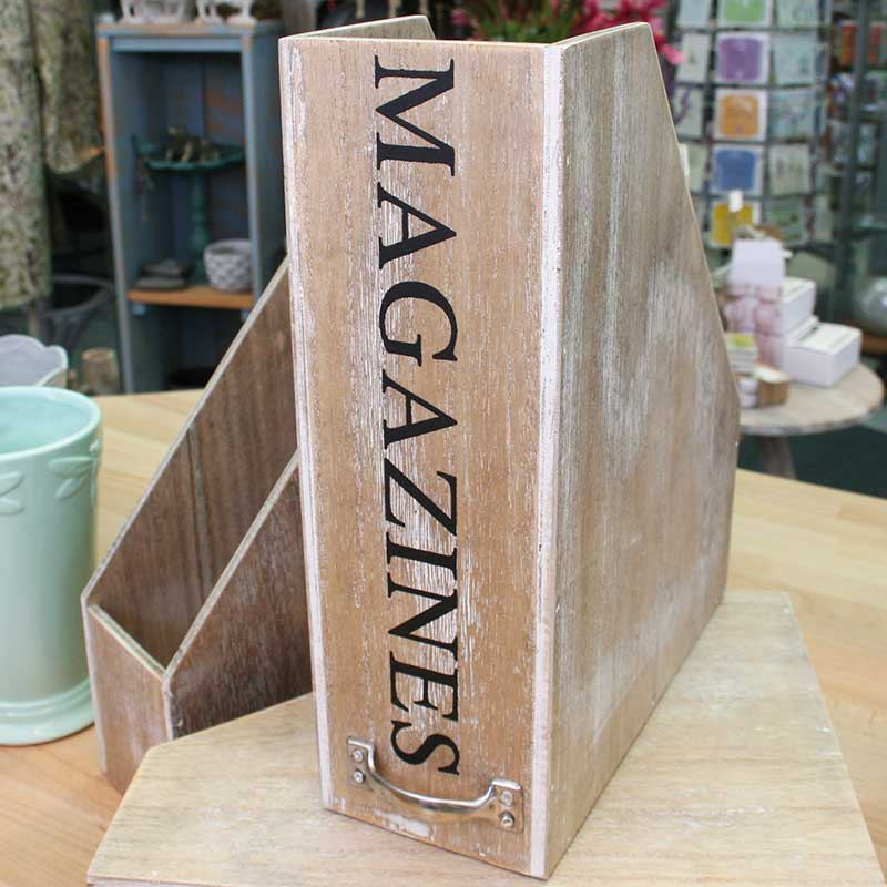 Picture of Gisela Graham Natural Wood 'Magazines' Storage Box File