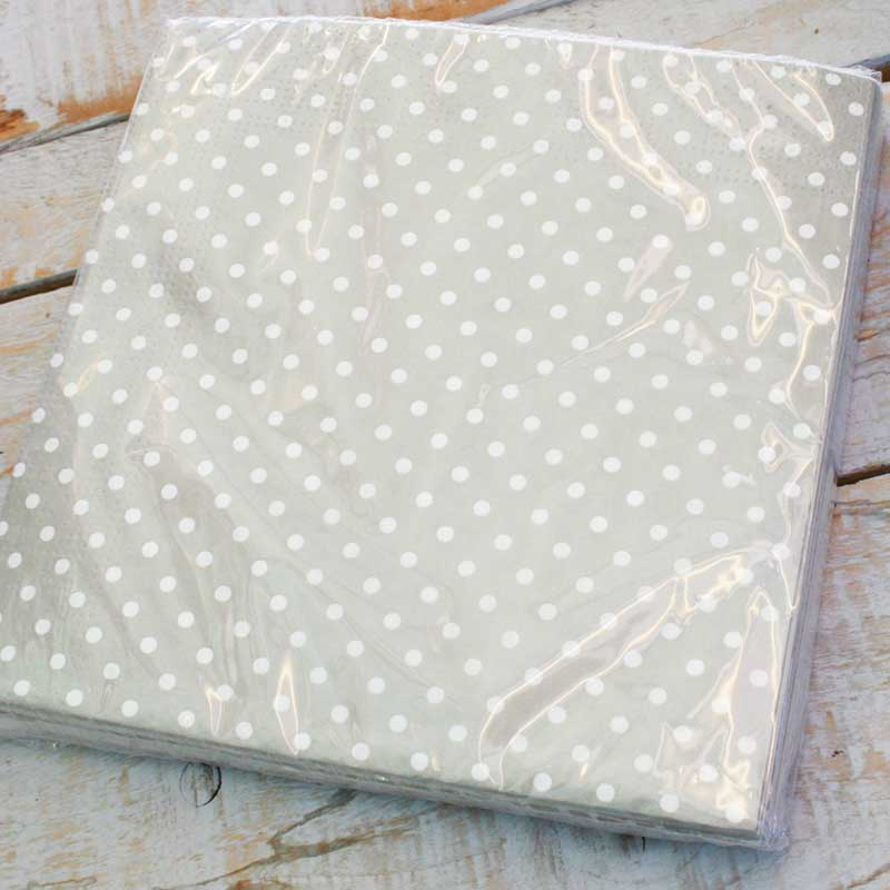 Picture of Gisela Graham Grey Mini Polka Dot Napkins