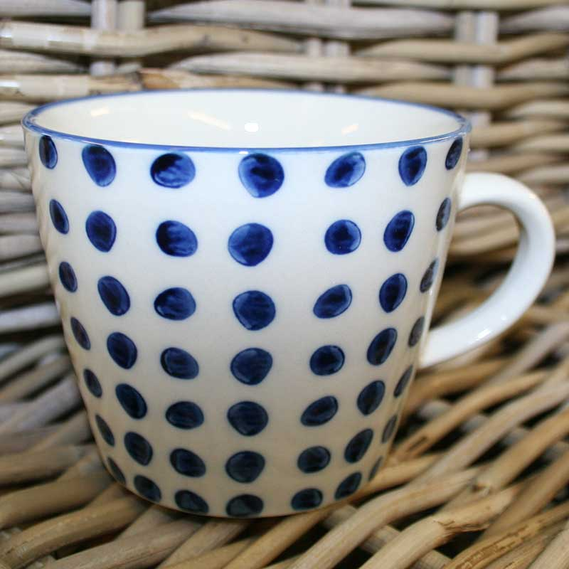 Picture of Gisela Graham Blue Dots Ceramic Mug