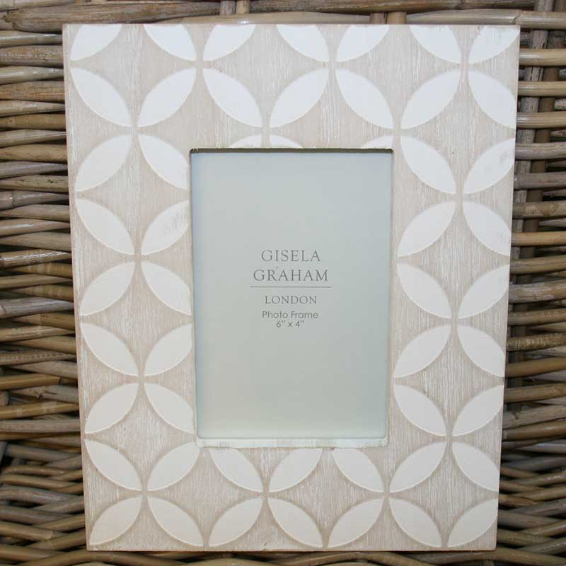 Picture of Gisela Graham White Wash Wood Leaf Picture Frame