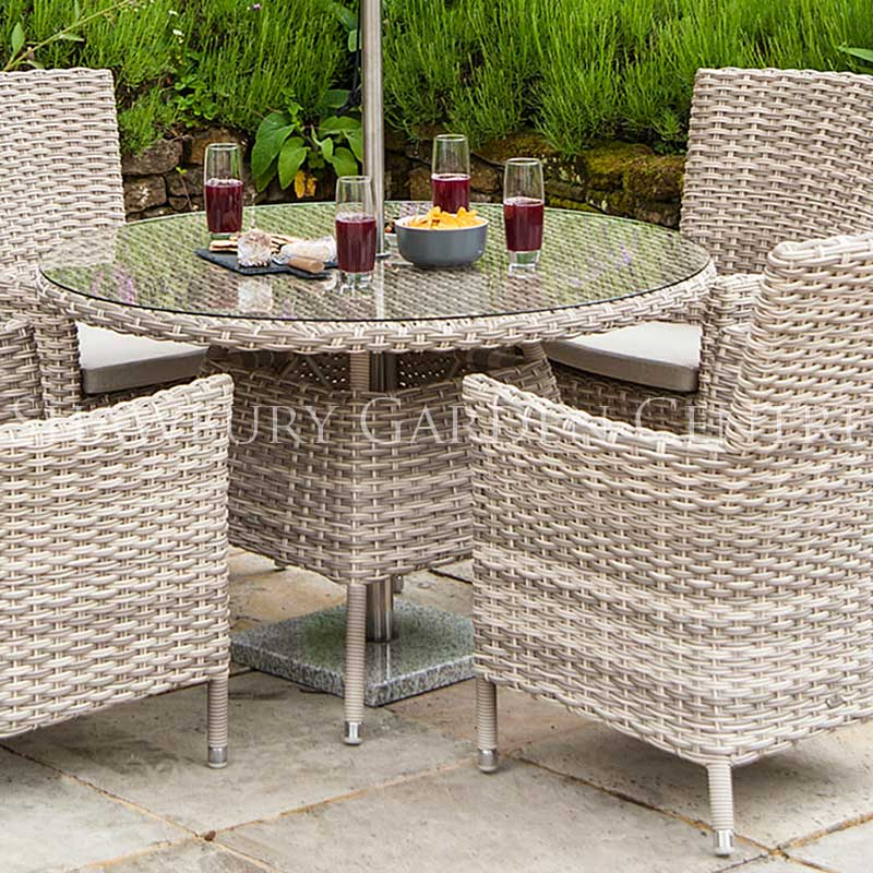 Picture of Alexander Rose Kool Pearl 4 Seater Round Garden Furniture Set