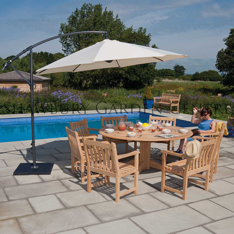 Picture of Alexander Rose Six Seater Roble Garden Furniture Set with Cantilever Parasol