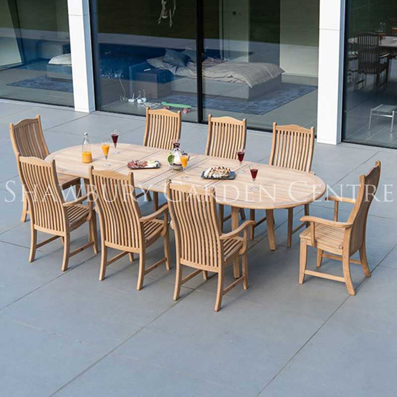 Picture of Alexander Rose Roble Extendable Table & 8 Chair Garden Furniture Set
