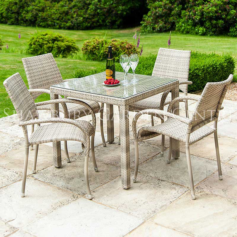 Picture of Alexander Rose Ocean Pearl Fiji 4 Seater Square Table Garden Furniture Set