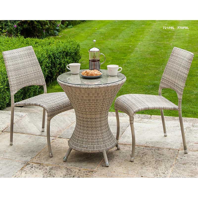 Picture of Alexander Rose Ocean Pearl Wave Bistro Set with Stackable Side Chairs