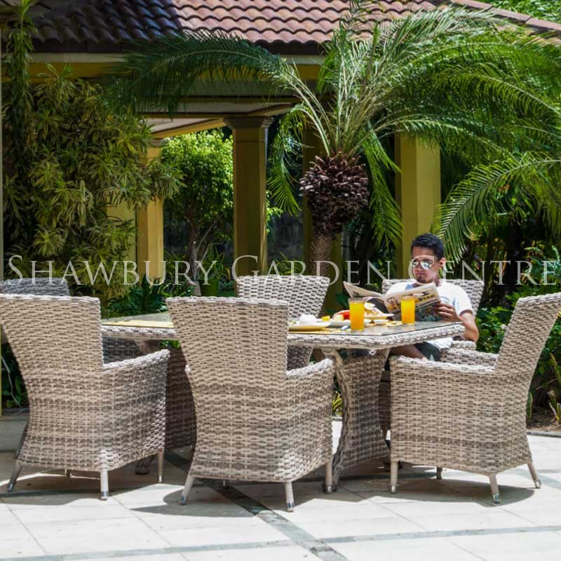 Picture of Alexander Rose Kool Pearl Six Seater Garden Dining Set