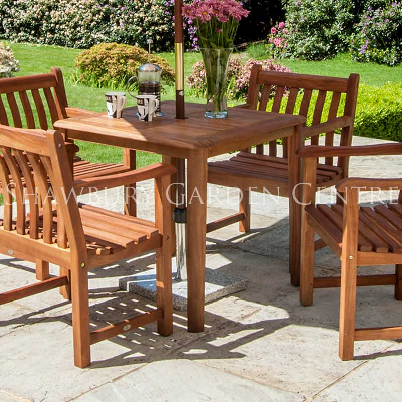 Picture of Alexander Rose Cornis Four-Seater Square Table Garden Furniture Set