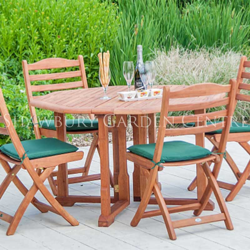 Picture of Alexander Rose Cornis Gateleg Table and 4 Folding Chair Garden Furniture Set