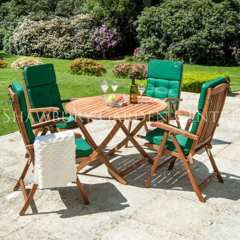 Picture of Alexander Rose Cornis Folding Table and 4 Recliner Chair Garden Furniture Set