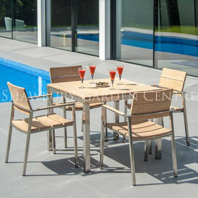 Picture of Alexander Rose Cologne Stainless Steel & Roble Square Table Garden Furniture Set