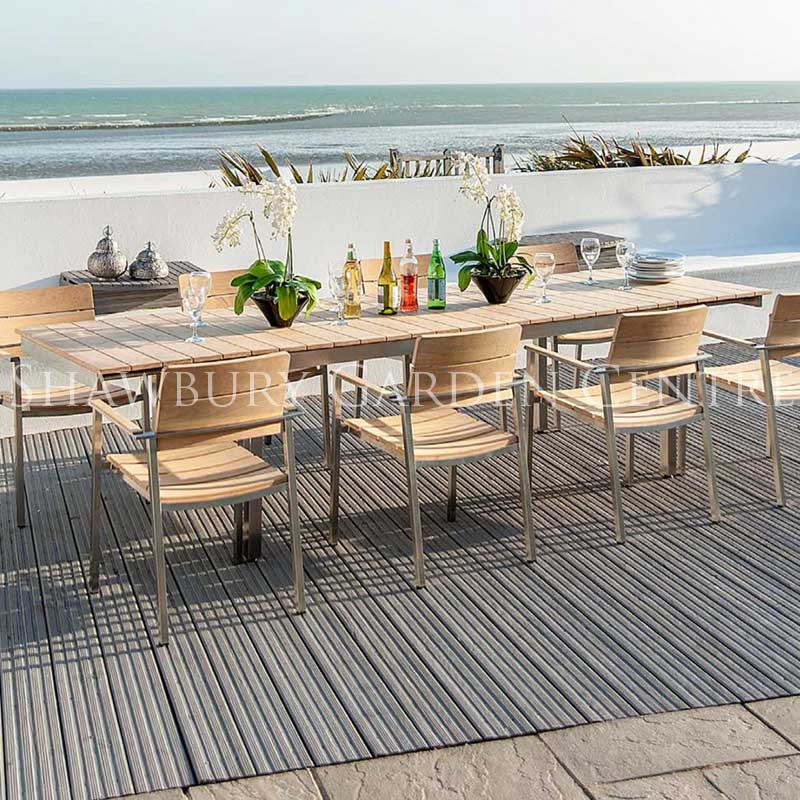 Picture of Alexander Rose Cologne Roble & Stainless Steel 8 Seater Outdoor Furniture Set