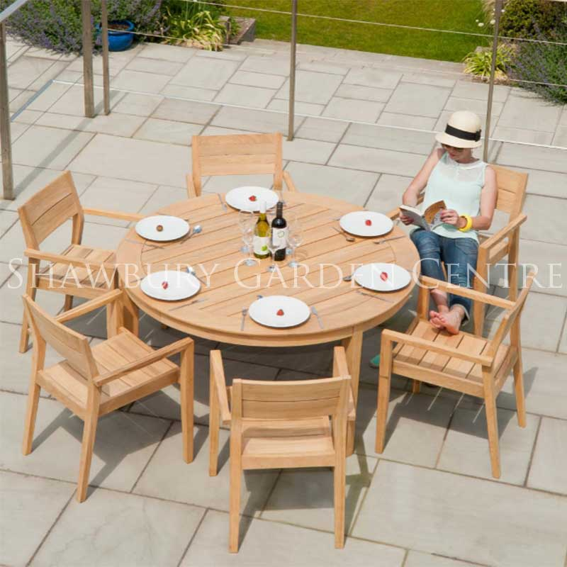Picture of Alexander Rose Roble Round Six Seater Garden Furniture Set