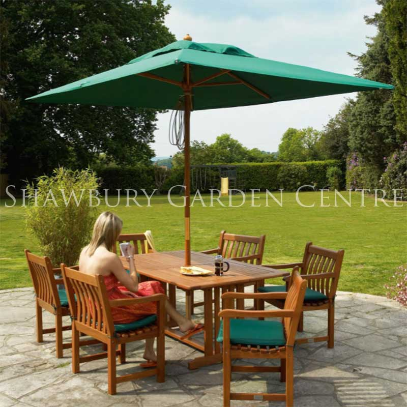 Picture of Alexander Rose Cornis Six Seater Rectangular Garden Furniture Set with Parasol