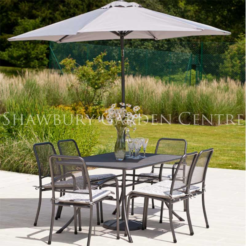 Picture of Alexander Rose Portofino Six Seater Garden Furniture Set with Parasol