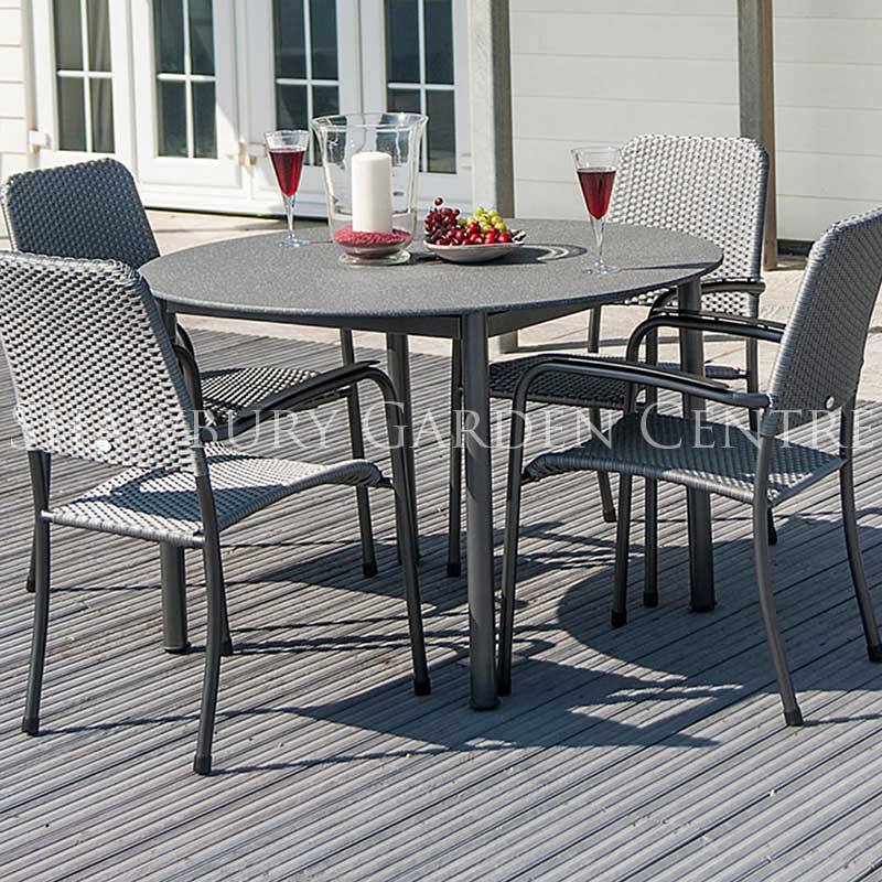 Alexander Rose Portofino Round Table Garden Furniture Set with Woven Chairs & Alexander Rose Portofino Round Table Garden Furniture Set with Woven ...