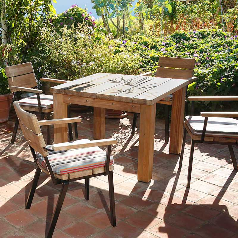 Picture of Barlow Tyrie Rustic Teak Square Titan Table