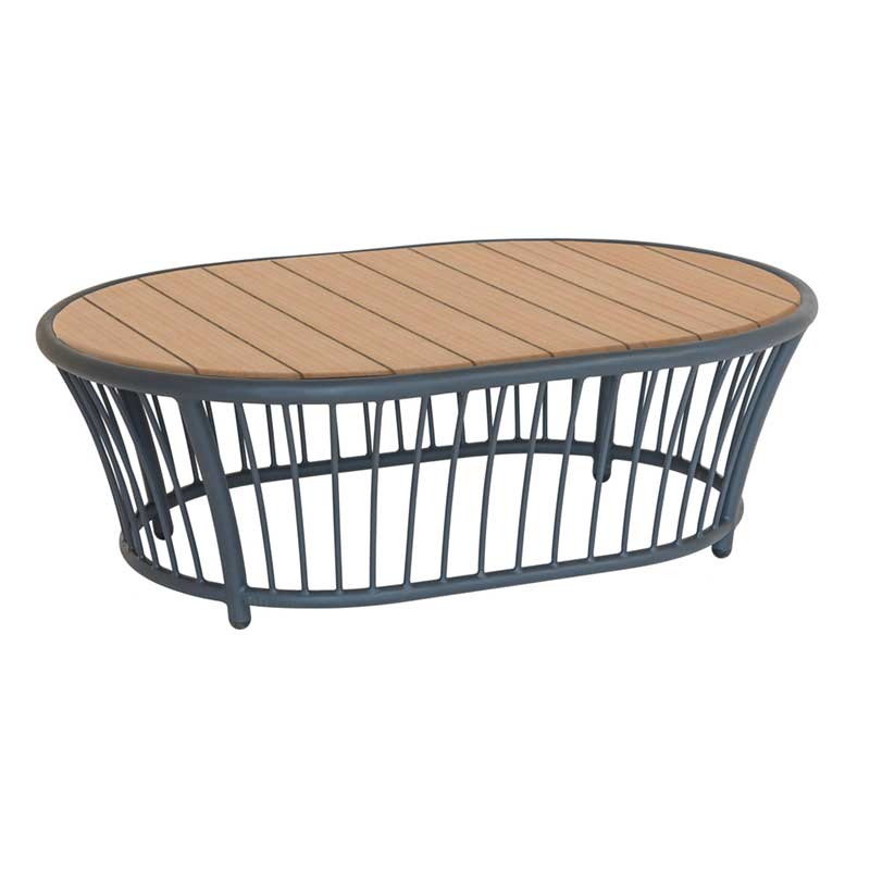 Picture of Alexander Rose Cordial Lounge Oval Coffee Table with Roble Top