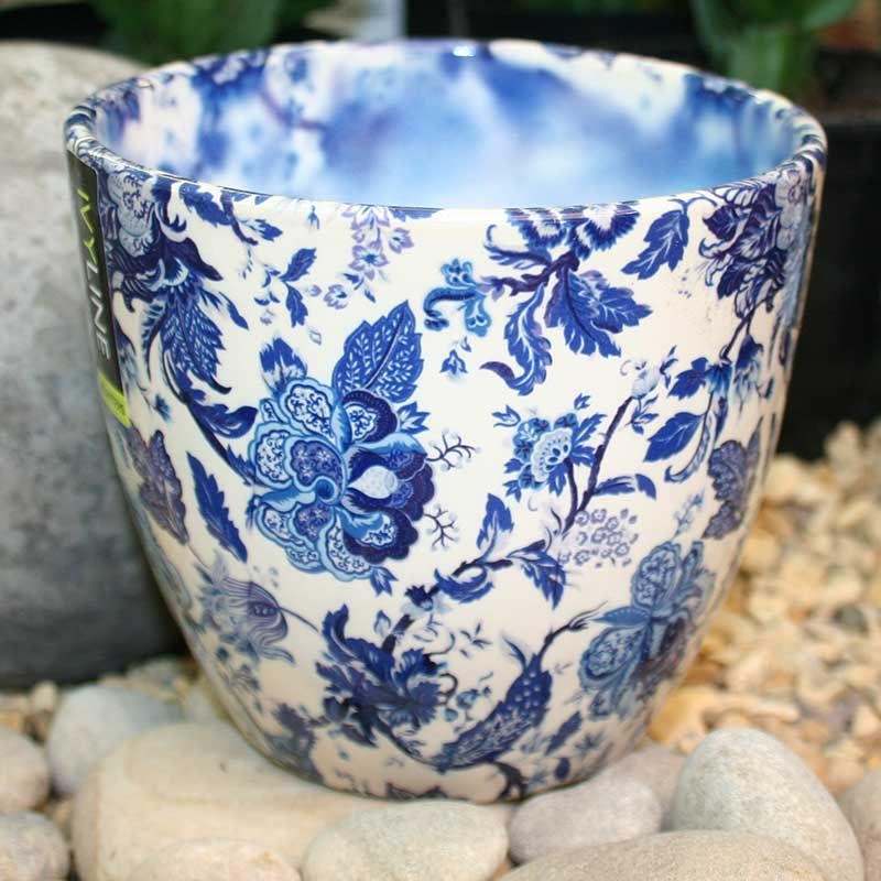 Picture of Ivyline Monza Blue & White Plant Pot Cover