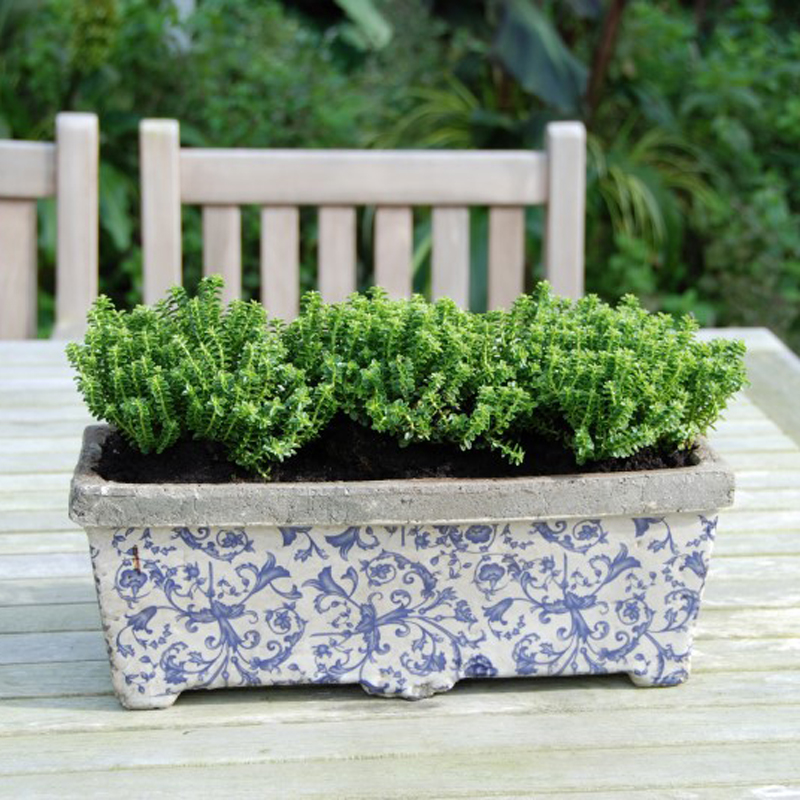 Picture of Fallen Fruits Vintage Style Blue & White Planter