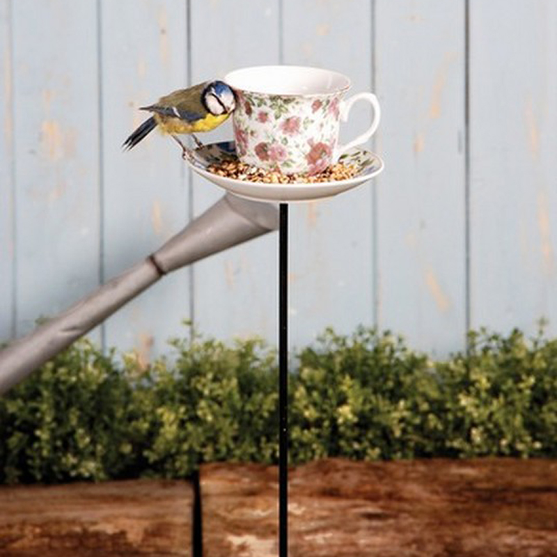 Picture of Fallen Fruits Vintage Style Tea Cup & Saucer Bird Feeder on Pole