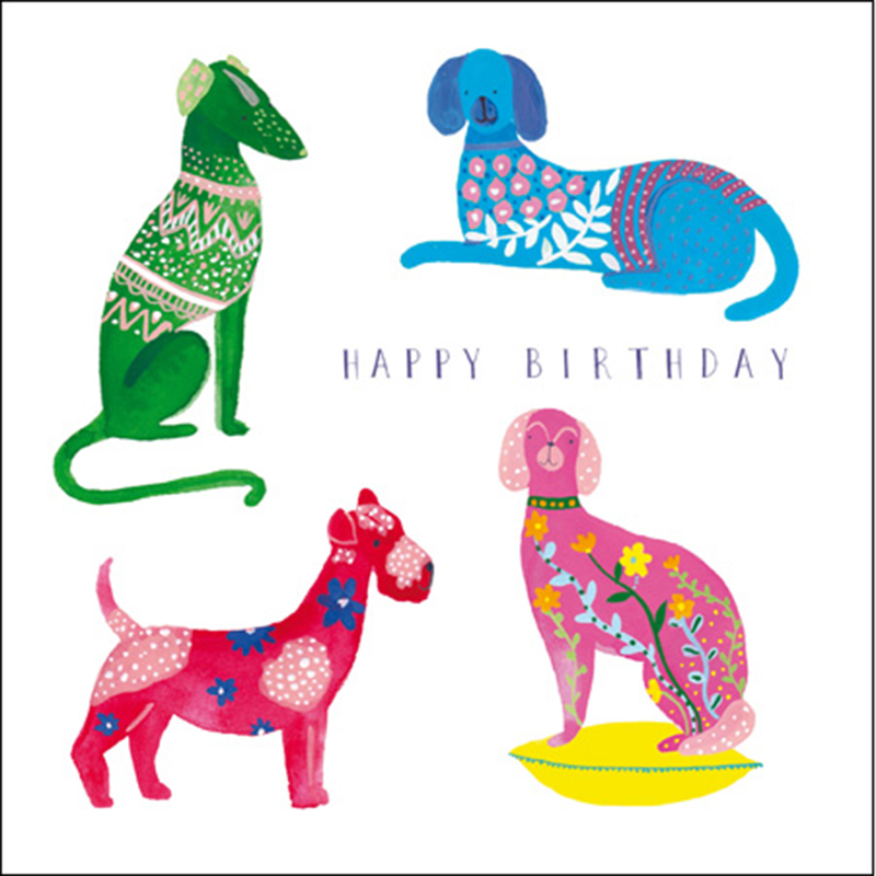 Picture of Folk Multi Coloured Dogs Card by Katie Whitton