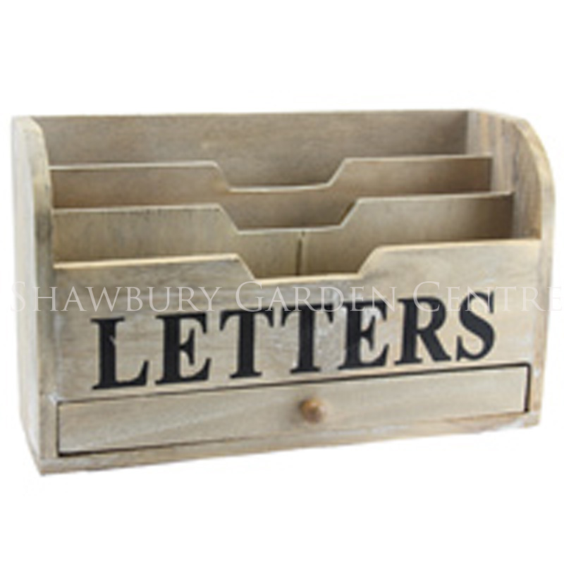 Picture of Gisela Graham Natural Wood 'Letters' Rack Storage with Drawer