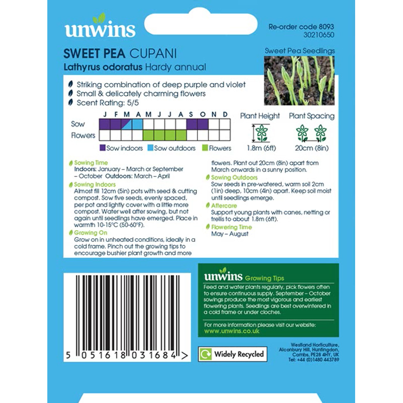 Picture of Unwins Sweet Pea 'Cupani' Seeds