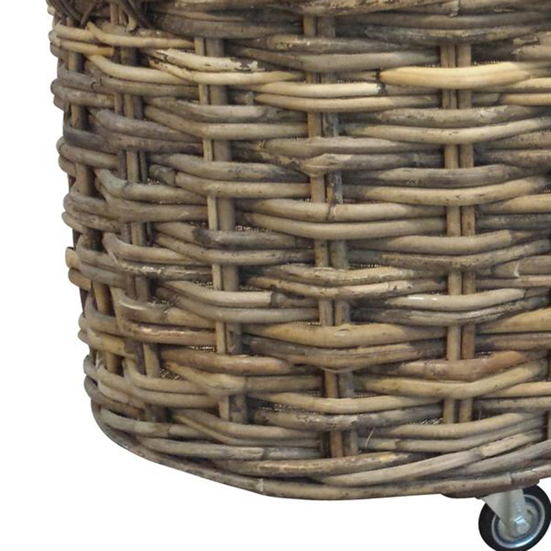 Picture of XL Round Log Basket with Lining & Wheels