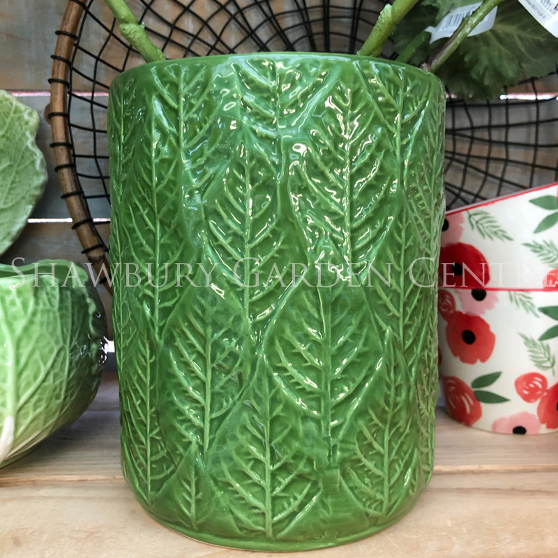 Picture of Gisela Graham Green Leaves Utensil Pot