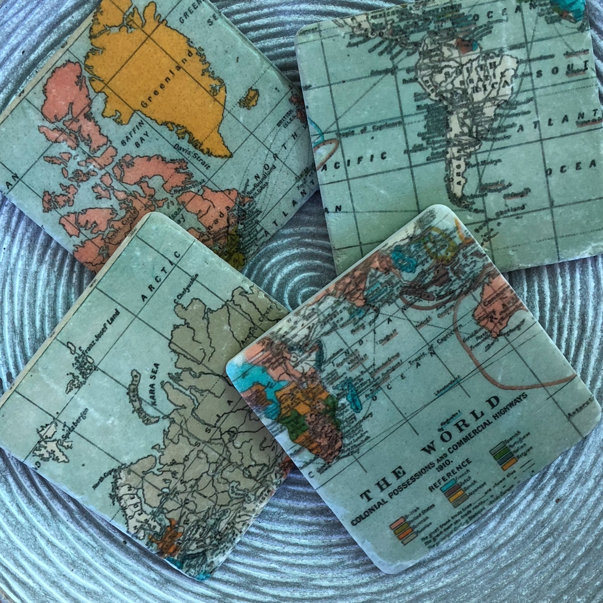 Picture of Gisela Graham World Map Resin Coaster (pk/4)