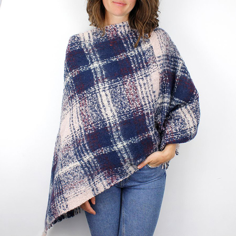 Picture of Mulberry Check Knitted Poncho