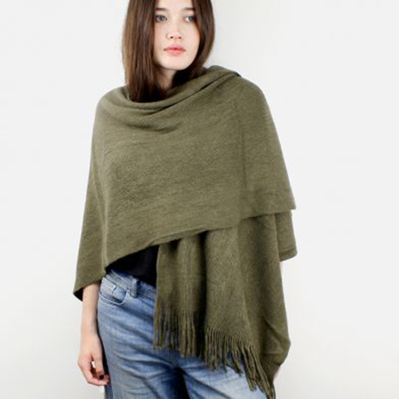 Picture of Khaki Green Knitted Winter Wrap