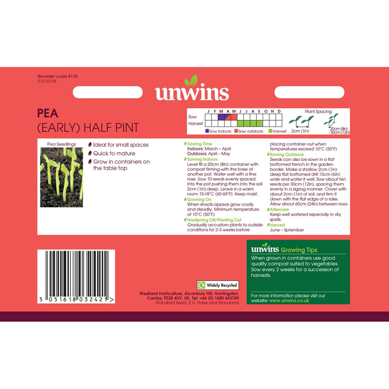 Picture of Unwins PEA Half Pint Seeds