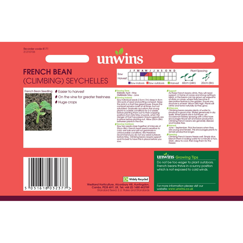 Picture of Unwins Unwins 'Climbing Seychelles' french bean seeds