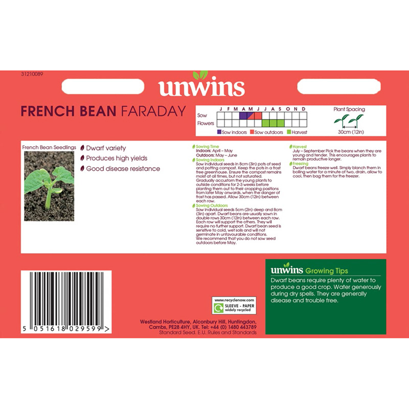 Picture of Unwins Unwins 'Dwarf faraday' french bean seeds