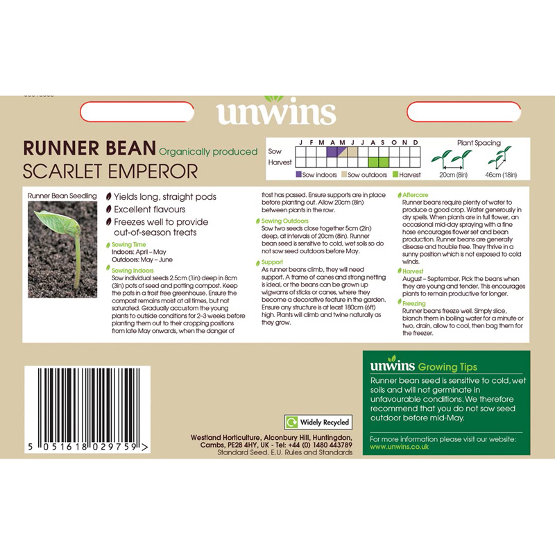 Picture of Unwins Organic RUNNER BEAN Scarlet Emperor Seeds