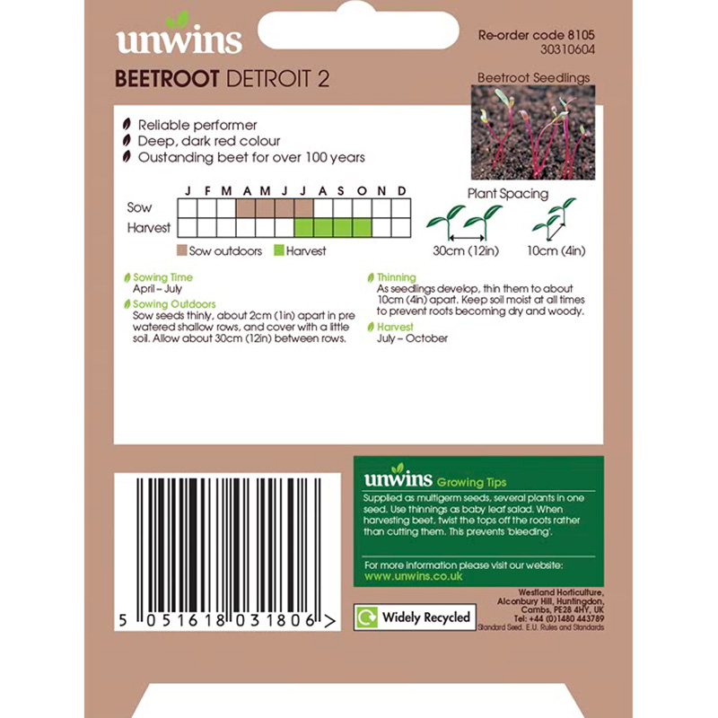 Picture of Unwins BEETROOT Detroit 2 Seeds