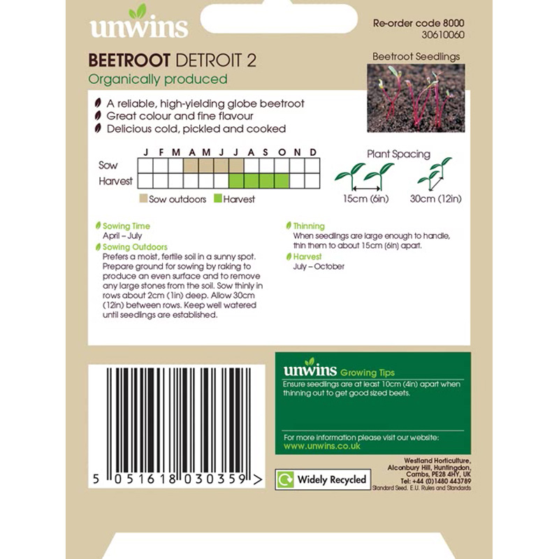 Picture of Unwins Organic 'Detroit 2' Beetroot seeds