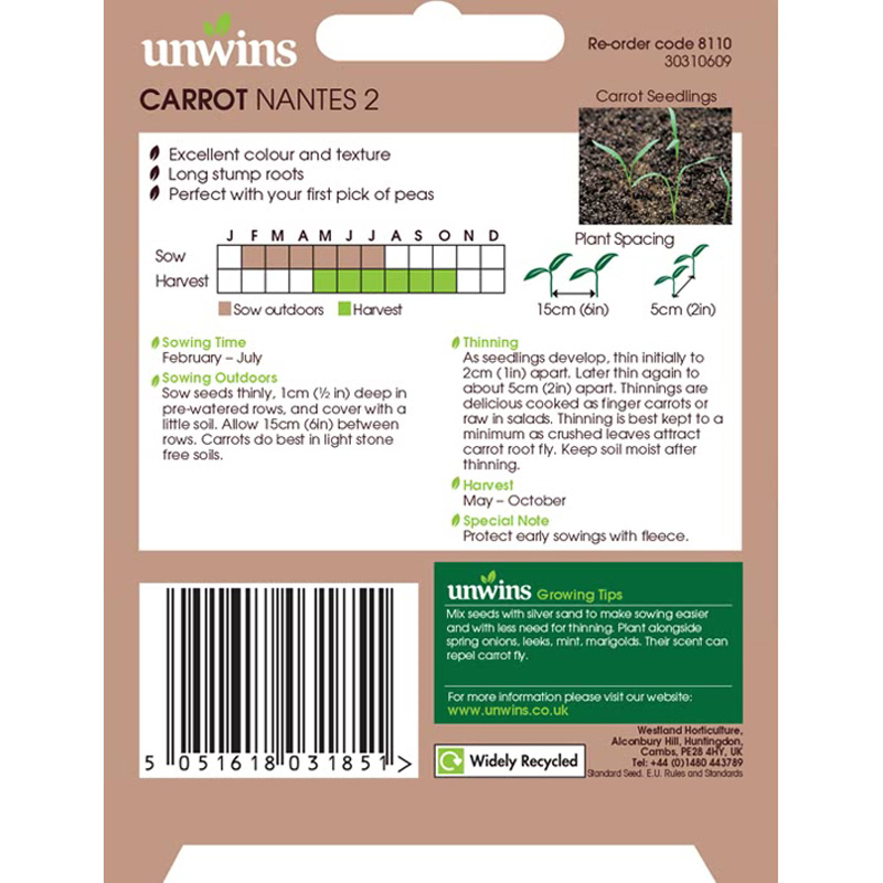 Picture of Unwins 'Nantes' Carrot Seeds