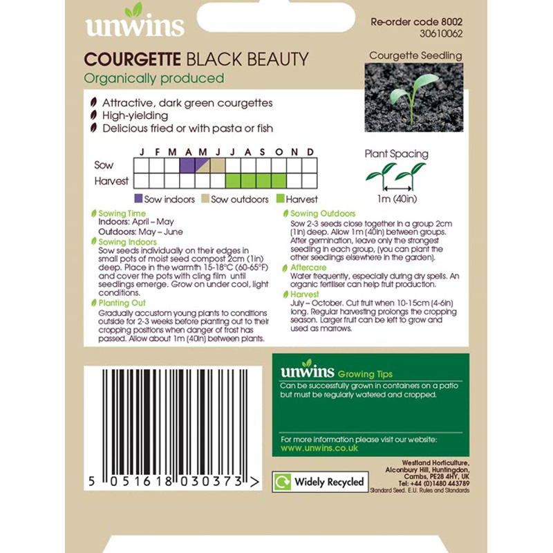 Picture of Unwins 'Black beauty' Courgette seeds