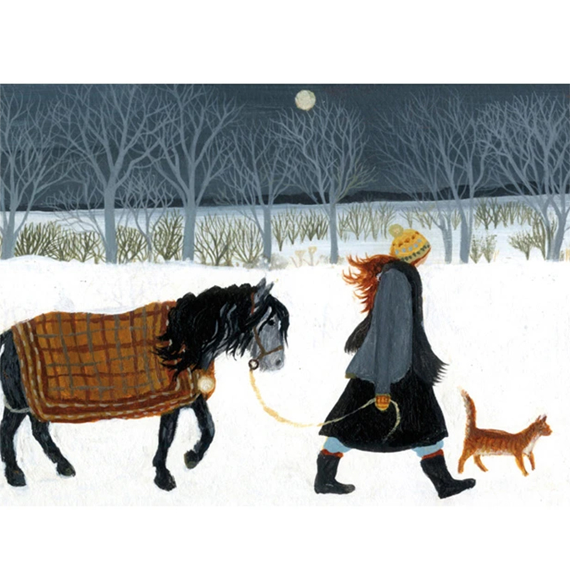 Picture of 'Walking The Horse' by Dee Nickerson - blank inside card