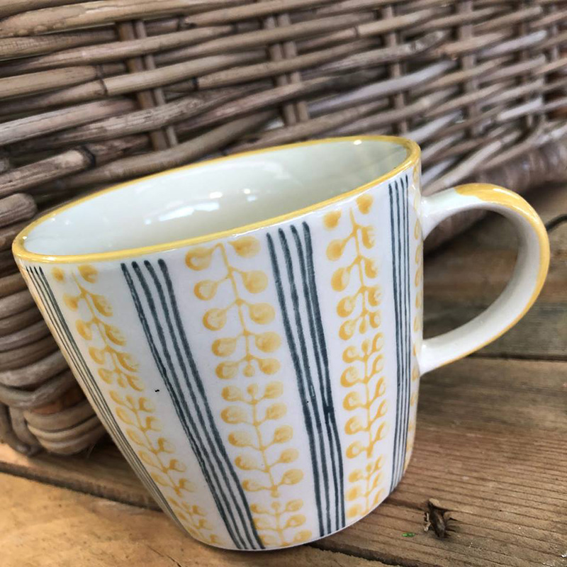 Picture of Gisela Graham Mustard Stripe Berry Ceramic Mug