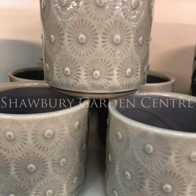 Picture of Gisela Graham Light Grey Daisy Ceramic Mini Pot Cover