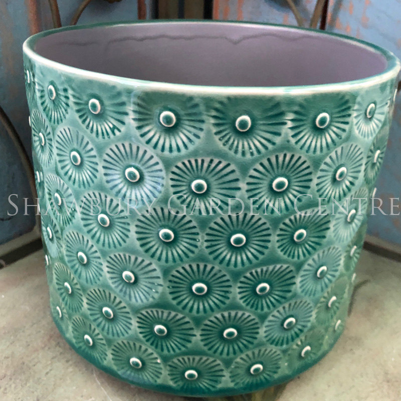 Picture of Gisela Graham Green Daisy Ceramic Pot Cover