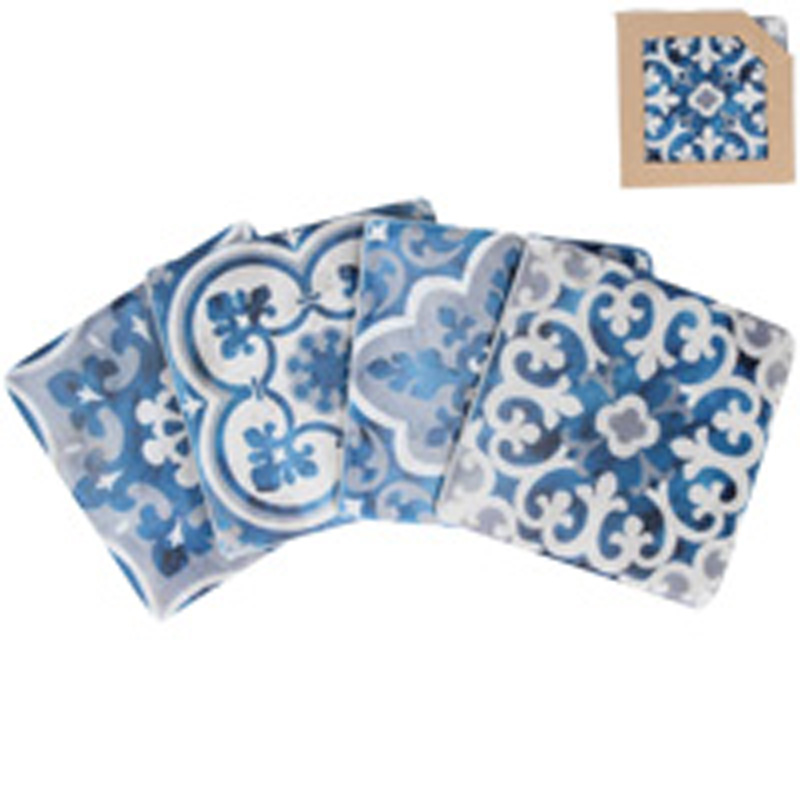 Picture of Gisela Graham Blue Mosaic Resin Coaster Pk/4