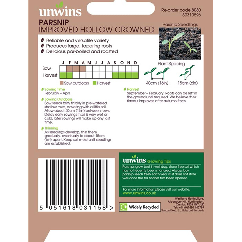 Picture of Unwins 'Improved Hollow Crowned' Parsnip Seeds