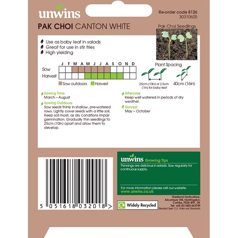 Picture of Unwins Pack Choi 'Canton White' Seeds