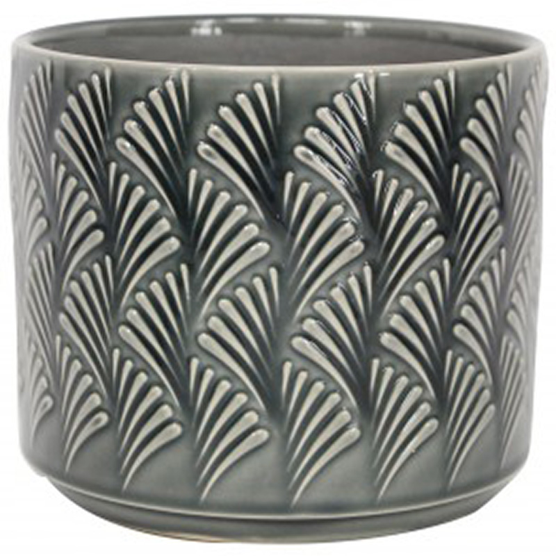 Picture of Gisela Graham Charcoal Fan Wave Ceramic Mini Pot Cover
