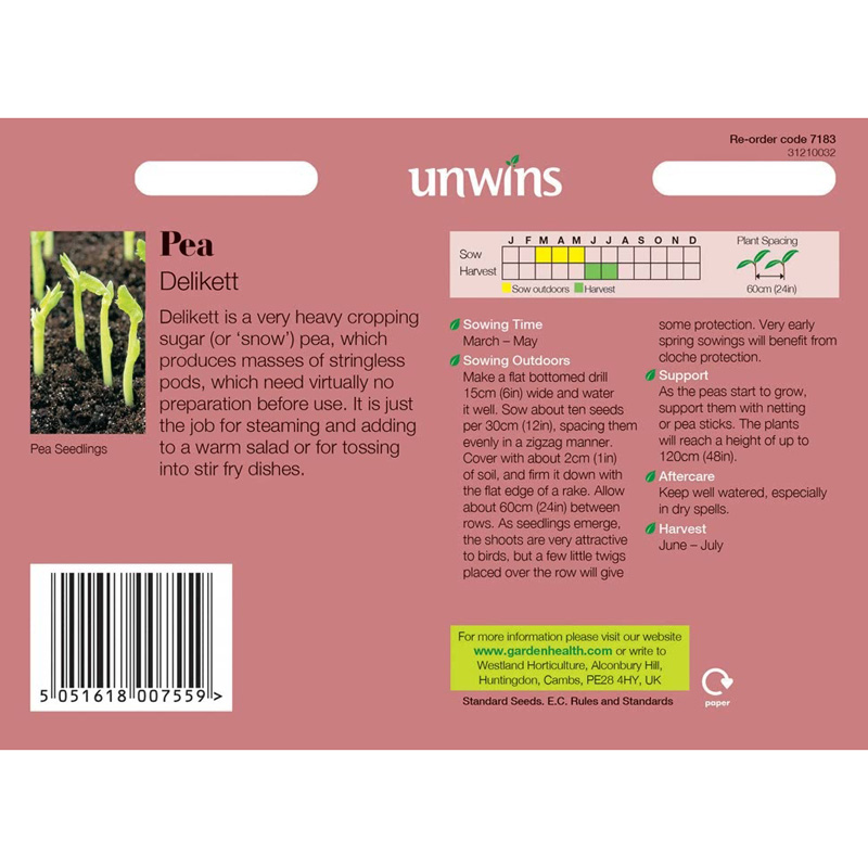 Picture of Unwins 'Delikett' Sugar Pea Seeds