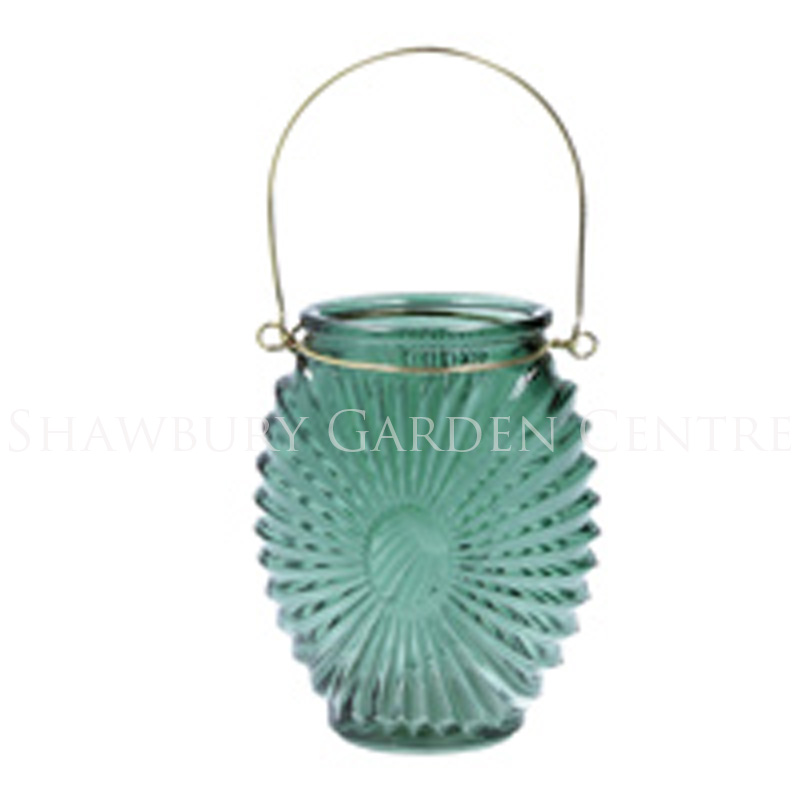 Picture of Gisela Graham Green Glass Sunburst T-Lite Holder